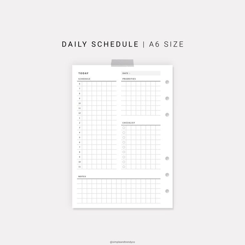 graphic about Daily Planners known as Each day Planner Printable A6 Inserts, Every day Planners and Organizers, Day-to-day Plan Printable, Each day Routine A6 Planner Sizing