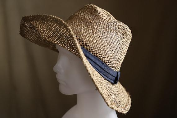 Straw Hat Fedora Sun Hat 57-59 cm. Summer Hat - image 2