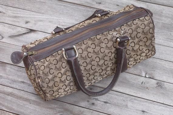 Vintage Celine Canvas Bag Leather 1980s