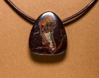 Boulder Opal pendant drilled head on