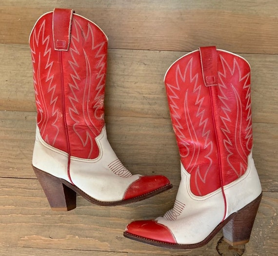 Red & White Heeled Cowboy Boots