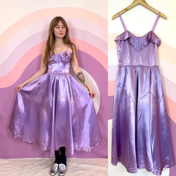 Vintage 1950 1960 Emma Domb Satin Lavender Purple