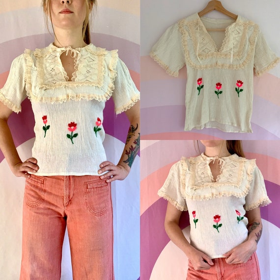1970's Vintage Hand Pink Floral Embroidered Mexica