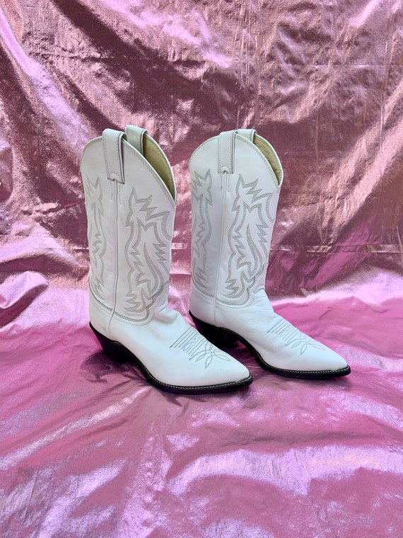 Vintage Justin White Tall Cowboy Boots