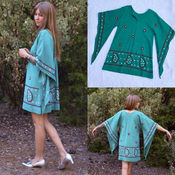 Vintage 1960s 1970s Kohinoor Embroidered Indian Co