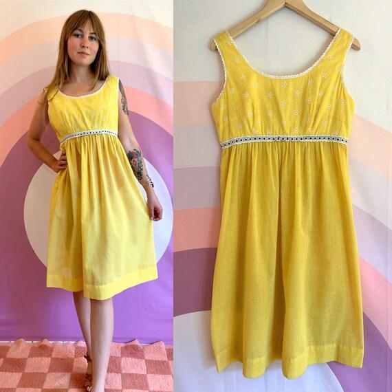 1970s / 1980s Beach Party Sheer Yellow Polkadot Ey