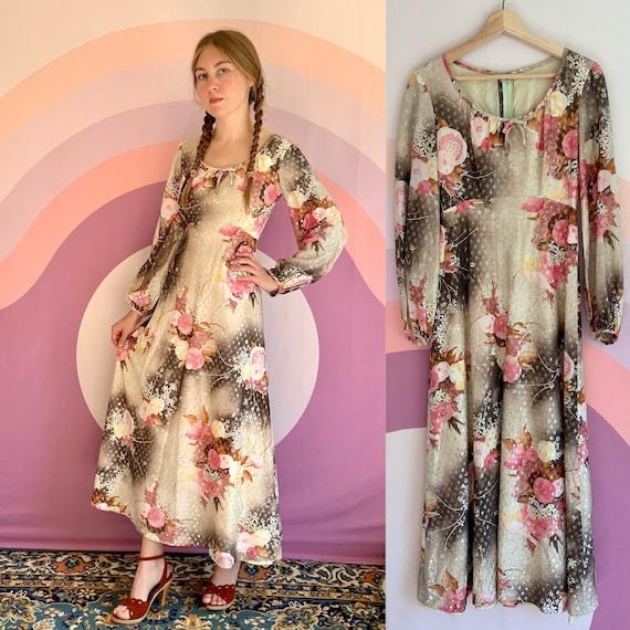 Vintage 1970s Nadine Cherry Blossom Sparkle Dress