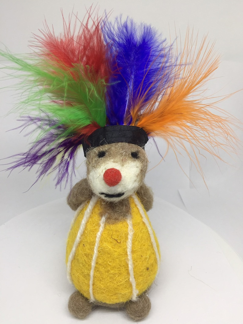 Pride Mouse with Heart Needle Felted animal Rainbow colors headdress ready to ship from Miami USA