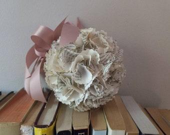 Book Page Hydrangea, Pomander Ball for Wedding, Kissing Ball, Paper Pomander Ball, Book Page Decoration, Literary Gift, Book Theme Wedding