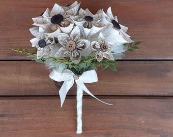 Book Page Kusudama Brides Bouquet, Paper Wedding Bouquet, Paper Bouquet, Alternative Bouquet, Book Page Flowers, Bookish Wedding