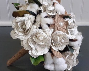 Cotton and Burlap accented Wedding Bouquet, Ready To Ship Book Page Flower Bridal Bouquet, Rustic Bridal Bouquet, Cotton Themed Wedding