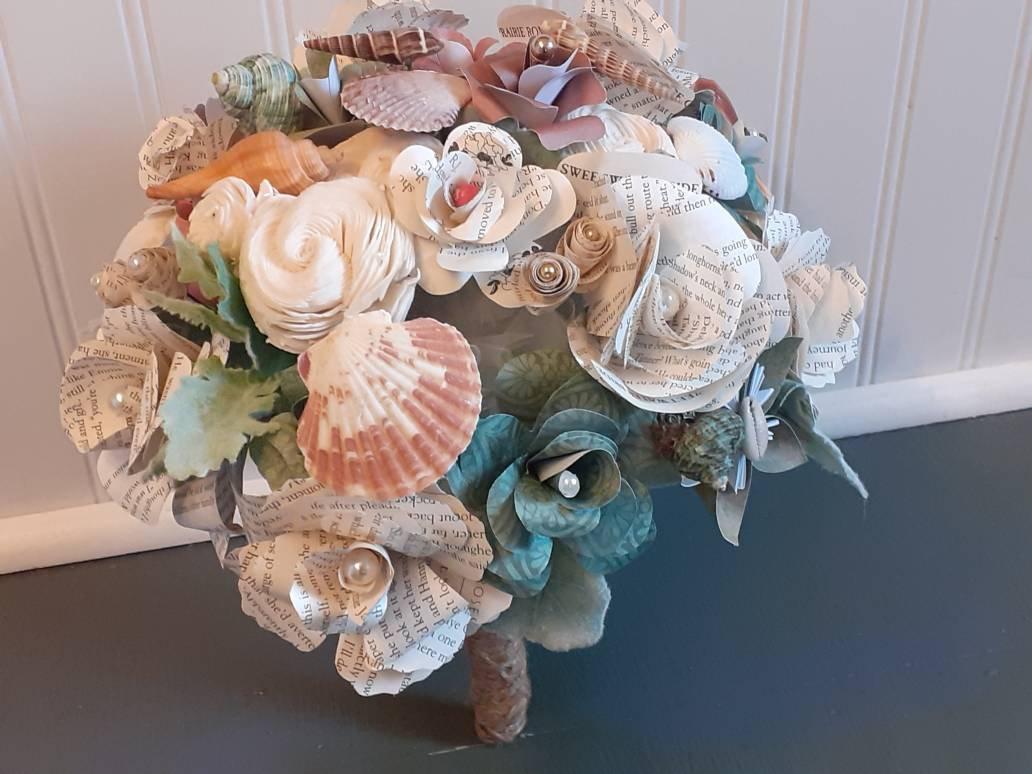 Seashell Brides Bouquet, Ready to Ship Beach Theme Wedding Bouquet, Book  Bouquet w/ Shells and Sola Wood Flowers, Paper Flower Bouquet,