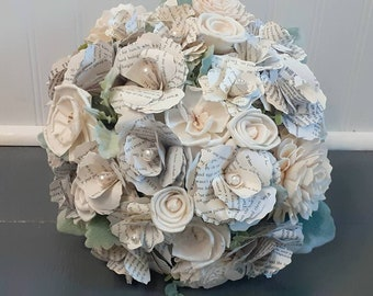 Book Flower and Sola Wood Brides Bouquet, Ready to Ship Book Page Wedding Bouquet, Sola Wood Bouquet, Bookish, Literary Theme, Book Theme