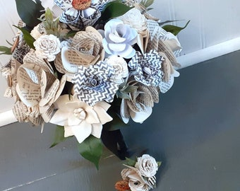 Gothic Bridal Bouquet, READY TO SHIP Book Page Wedding Bouquet and Boutonniere, Edgar Allen Poe Theme Wedding, Book Theme Wedding Flowers