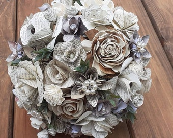 Vintage Brides Bouquet and Boutonniere, Book Rose Bouquet, Book Bouquet, Sola Wood Bouquet, Bookish Bride, Literary Theme