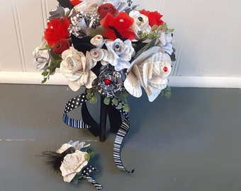 Red, Black and White Book Page Brides Bouquet and Boutonniere, READY TO SHIP Wedding Bouquet, Paper Bouquet, Gothic Wedding Theme,