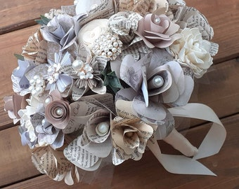 Vintage Brides Bouquet and Boutonniere, Book Bouquet, Ready to Ship Bouquet & Boutonniere, Sola Wood Bouquet, Bookish Bride, Literary Theme
