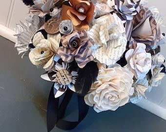 READY TO SHIP Steampunk Bridal Bouquet, Gothic Bride, Black n White Wedding Bouquet, Sola Wood and Paper Bouquet, Victorian Goth Wedding