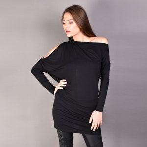 asymmetrical tunic top long sleeves tee with thumb chevron loose plus size t-shirt