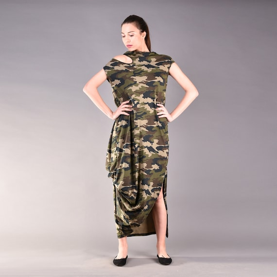 Camo Dress, Loose Dress, Short Sleeve Dress, Camoflauge, Cold Shoulder,  Casual Dress, Plus Size Dress, Maxi Dress, Minimalist Dress, Dress