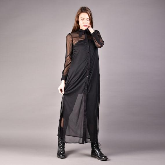 Long Shirt Dress Black Shirt Dress Chiffon black shirt Maxi | Etsy