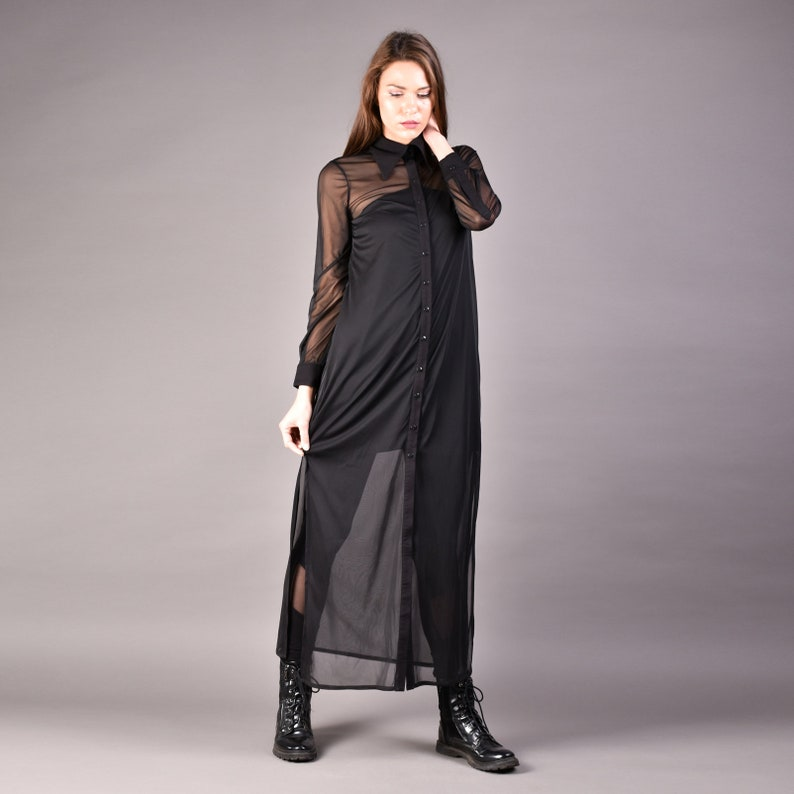 Long Shirt Dress, Black Shirt Dress, Chiffon black shirt, Maxi Loose Shirt,  Sheer Maxi Dress, Plus Size Shirt, Oversized shirt dress