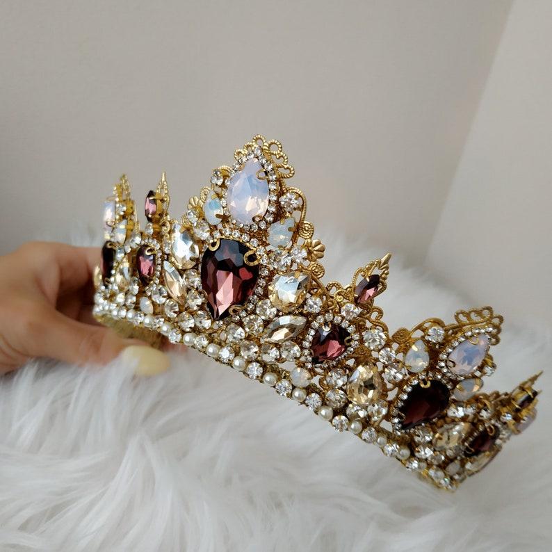 Braut gold Krone Braut gold Tiara Braut Diadem Hochzeit | Etsy