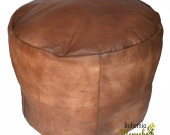 Awesome Pouf Luxury Pouf Brown Darker Leather Moroccan Pouf Leather Machost Co Dining Chair Design Ideas Machostcouk