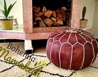 Superb Pouf Luxury Pouf Brown Darker Leather Moroccan Pouf Leather Machost Co Dining Chair Design Ideas Machostcouk