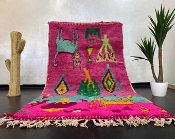 Superb multicolors rug Moroccan rug handmade boujaad rug wool carpet Morrocan rug medium authentic rug colorful rug. Size : 8.7 X 4.7 Feet