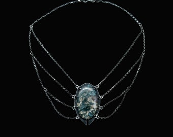 moss agate and layered chains necklace