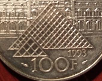 7b6c61336d7e Monnaie Francaise commémorative - French Coin Silver - 100 francs 1993  argent 900 1000 - bicentenaire   200eme anniversaire musée du Louvre