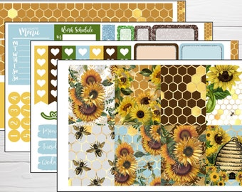 TN ECV-0161-I Die Cuts Recollections Happy Planner Erin Condren BUJO Notebook BohoShabby Chic Sunflowers /& Honey Bees
