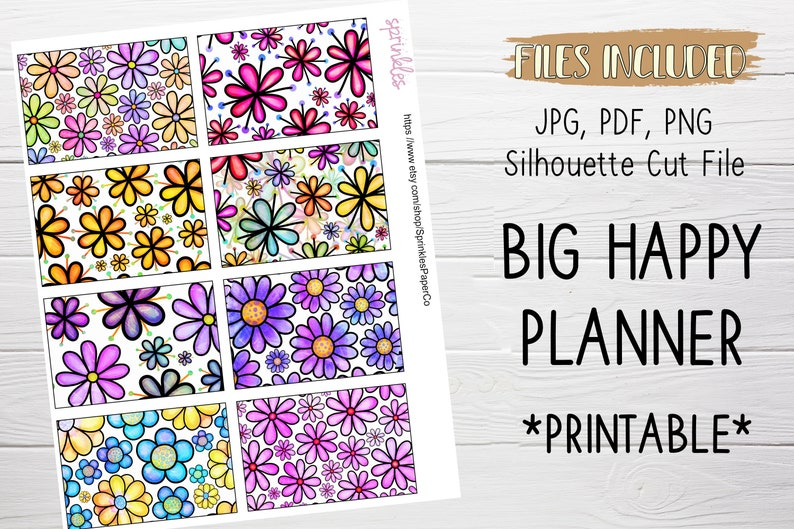 Colorful Daisies Flowers Big Happy Planner Full Box Stickers PRINTABLE Digital planning stickers Instant Download Silhouette CUT FILE