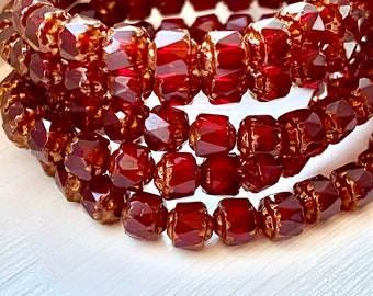Bronze Siam Ruby 25 Czech Antique Style Octagonal Cathedral Beads 6mm