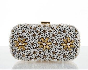 adaffb2932d545 HANDMADE PEARL CLUTCH, beaded, gorgeous, celebrity fashion, gold clutch,  gold bag, flower bag, evening bag, pearl bag