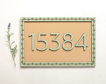 House Numbers Address Boho Bohemian Mid Century Modern house gallery wall Numbers Wood Cut Wall Art Sign Decor
