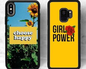 0b491209a7 Choose Happy Floral Aesthetic Phone Case Rose Girl Power Sunflower Yellow  (iPhone, Samsung Galaxy Note, Google Pixel, LG, Motorola)