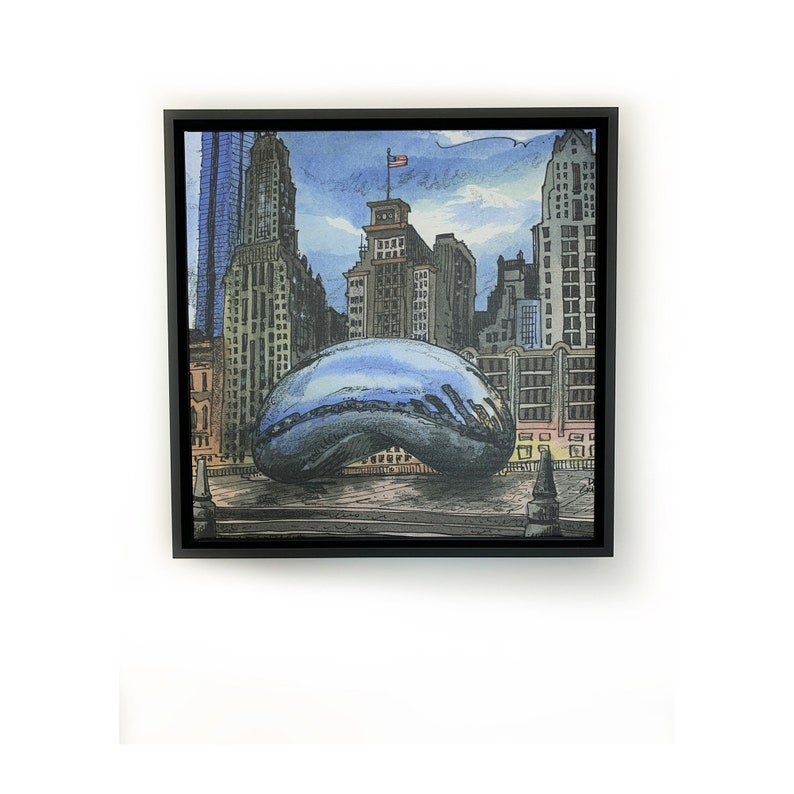 Chicago Personalized Wall Art Square Chicago Skyline Art image 0