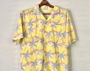 979bfffc Men's 70's TROPICANA Hawaiian Shirt - Size Large - Aloha Hawaii Island L  Lrg Vtg Yellow Palm Trees Sunset Soft Summer Button Up Down 1970's