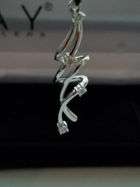 925 Diamond earrings for pierced ears swirl motif