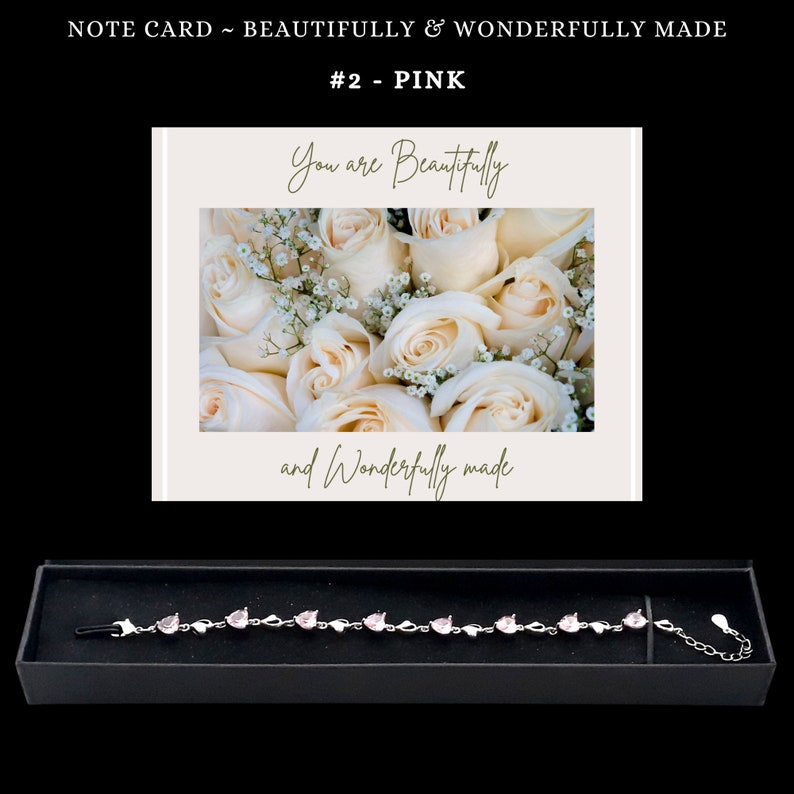 Name Envelope Ribbon Gift For Daughter From Dad Message Note Card Aquamarine and Pink Sterling Silver Chain Link Bracelet