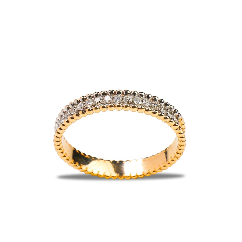 Micro Pave Eternity Diamond Ring Minimalist Ring in 14k Gold Wedding Ring R112 14k Solid Gold Diamond Ring White Round Stackable Ring