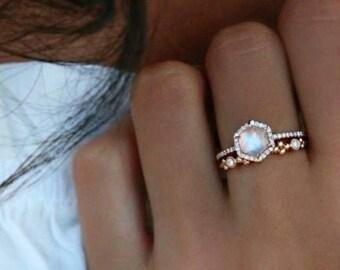 Women's Fire Opal Hexagon Ring - Crystal Moonstone Opal Gemstone Boho Gypsy Engagement Jewellery Women