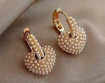 Women's Pearl Beaded Heart Earrings - Freshwater Pearl Small Love Heart Shaped Trendy Dainty Boho Stud Earrings