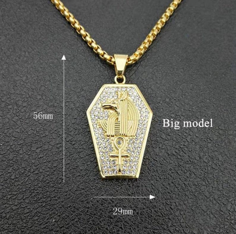 Iced Out CZ Egypt Ankh Pendant Gold Egyptian Symbolic Ankh Cross Anubis Hieroglyph Pendant