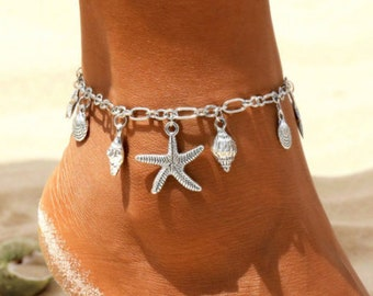 Women's Silver Star+Shell Anklet - Ocean Beach Starfish Conch Cowrie Star Boho Anklet - Women's Foot Jewellery Set