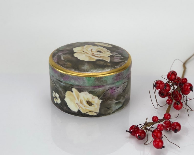 Porcelain vintage hand painted box made in Europe