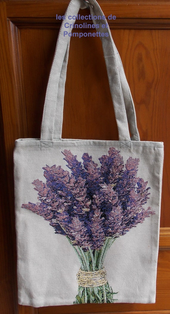 SAC FOURRE-ALL shopping bag in two-sided tapestry bouquet of lavender