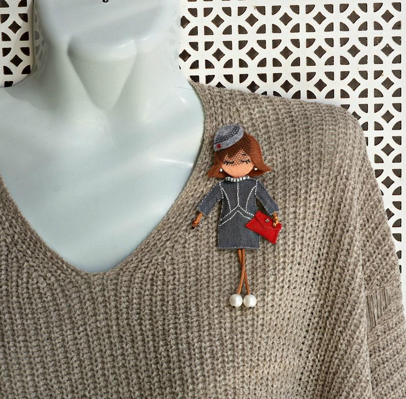 Textile decoration handmade girl brooch unusual accessory textile doll brooch fabric mini ledi pin decoration embroidery retro style gift